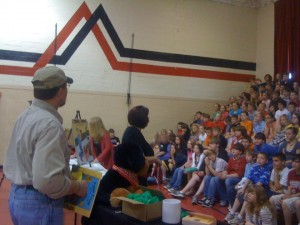 author Don Kaleta speaking at an elementary school